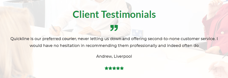 Client testimonial on our same day courier service